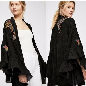 Free People Dottie West Embroidered Kimono Tiered Witchy Size M/L